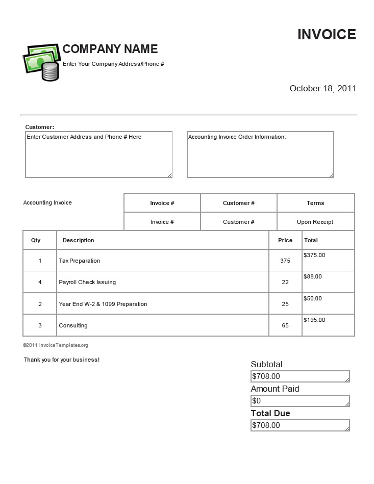 Free Accounting Bookkeeping And Payroll Invoice Templates - Bookkeeping invoice template