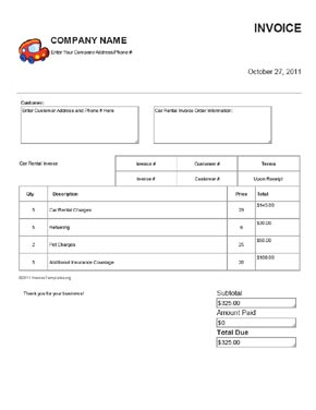 Vehicle Invoice Template  Rent Invoice Form