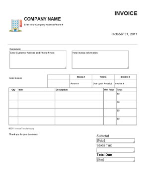 Free Invoice Templates For Hotels Bed And Breakfasts And Hostels - Hotel invoice template