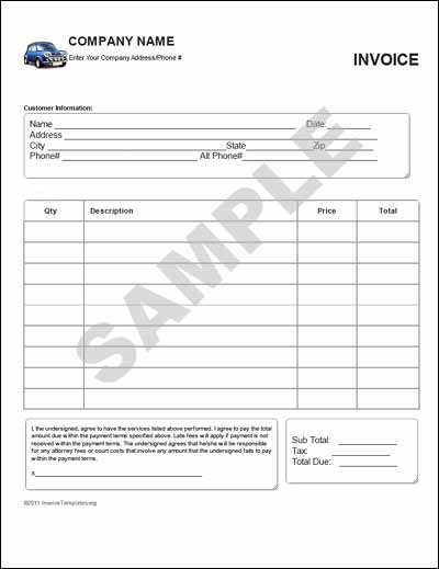 Sample Sales Invoice Form Template
