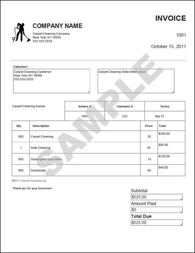 Carpet Cleaning Invoice Template Free - Invoice Template 2017
