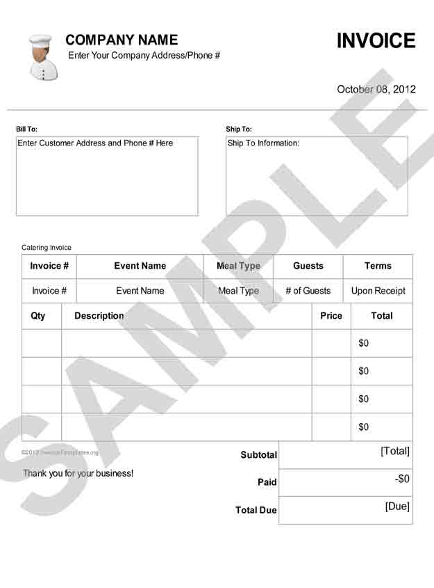 Download Catering Invoice Template Pdf | Rabitah.Net