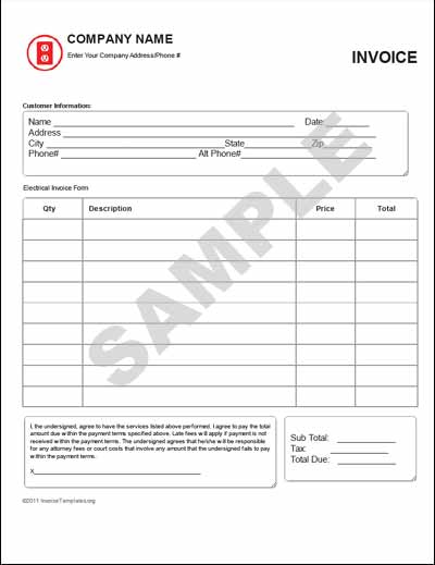 Electrical Invoice Template Jeppefmtk - Electrical invoice template