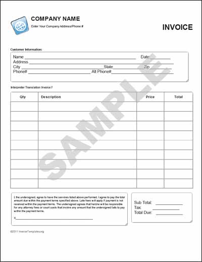 Translation Invoice Template